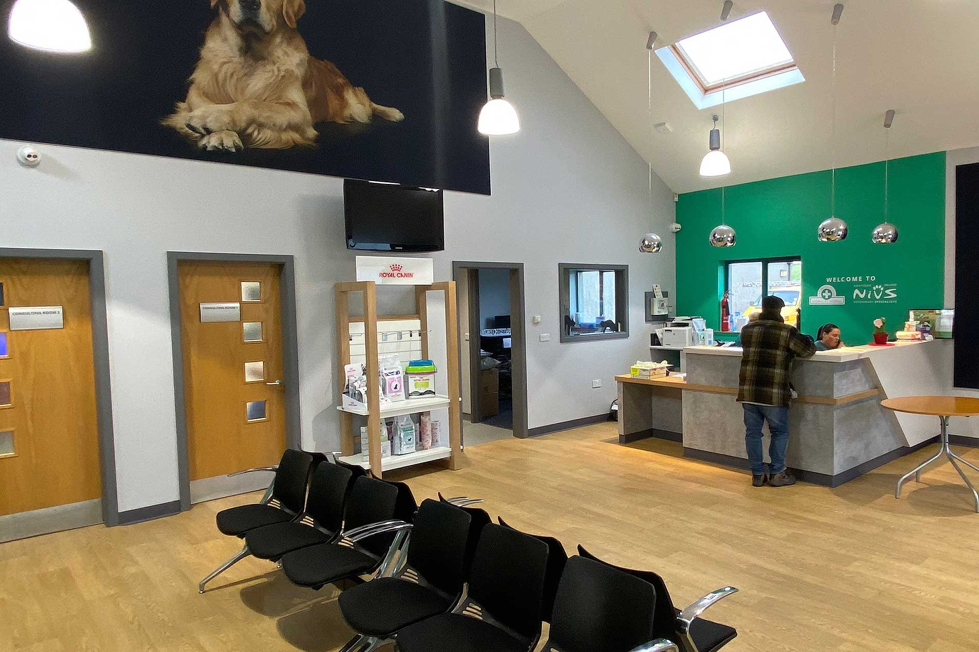 The reception and waiting area for Northern Ireland Veterinary Specialists
